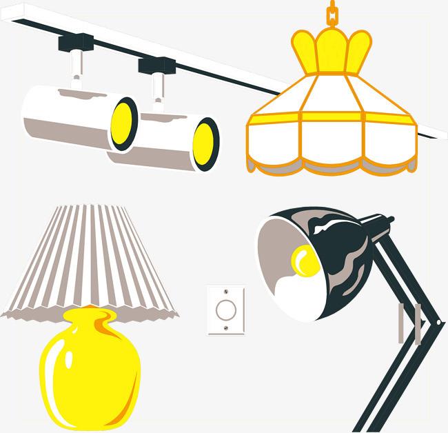 卡通台灯吊灯筒灯矢量图片
