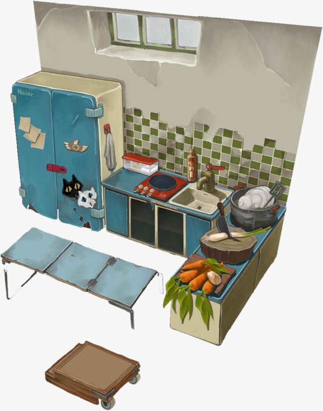 手绘动漫素材免费下载,本次卡通风格破旧小屋和冰箱作品为设计师创作图片