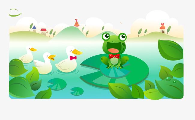 卡通青蛙鸭子池塘风景矢量图素材图片免费下载 高清psd 千库网 图片