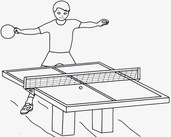 手绘线条乒乓球桌