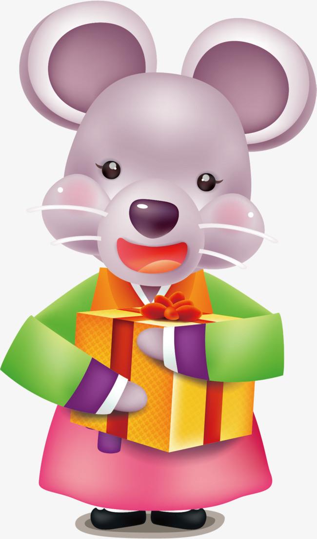 拿礼物的小老鼠矢量图图片