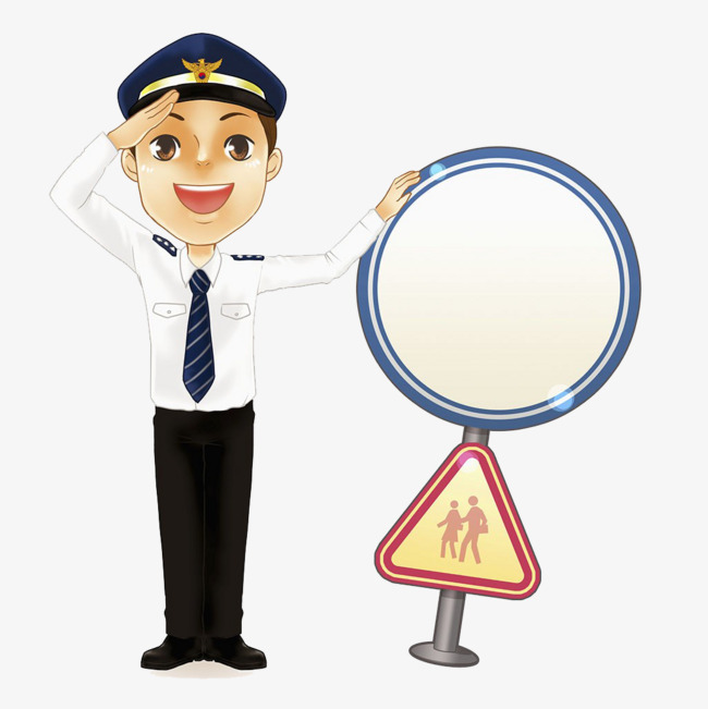 敬礼警察插画图片