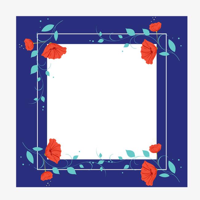 手绘蓝色花朵方形框