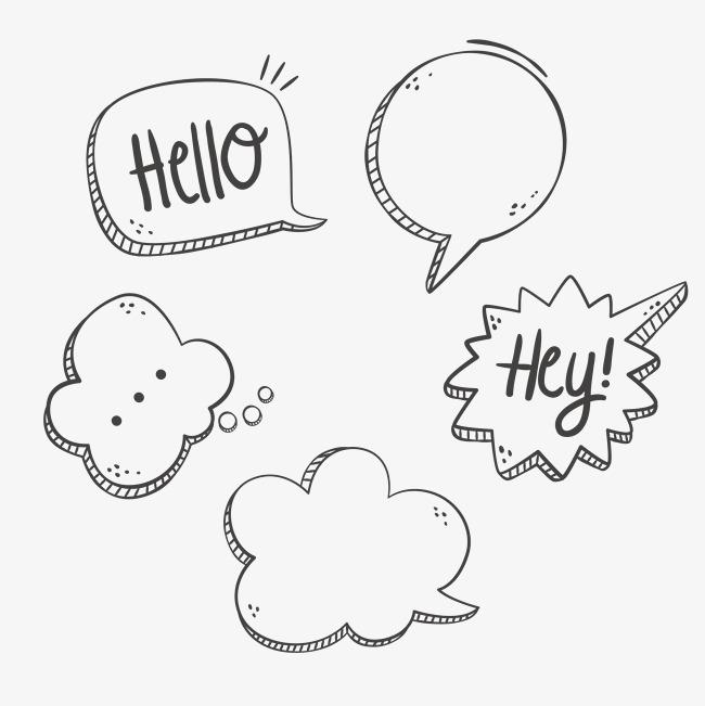 五款手绘对话框气泡标签矢量背景