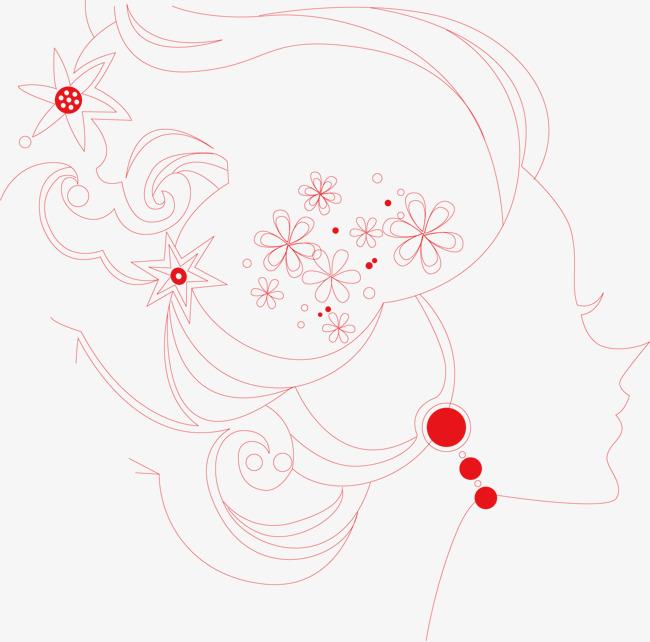 创意人物图案花卉手绘线条创意少女红色美女头像创意美女时尚女生线条女生头像免扣png创意简笔画女生头像