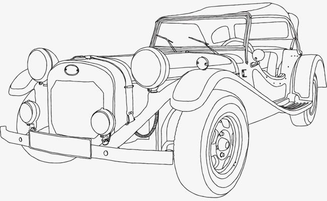 手绘汽车矢量图【高清装饰元素png素材】-90设计