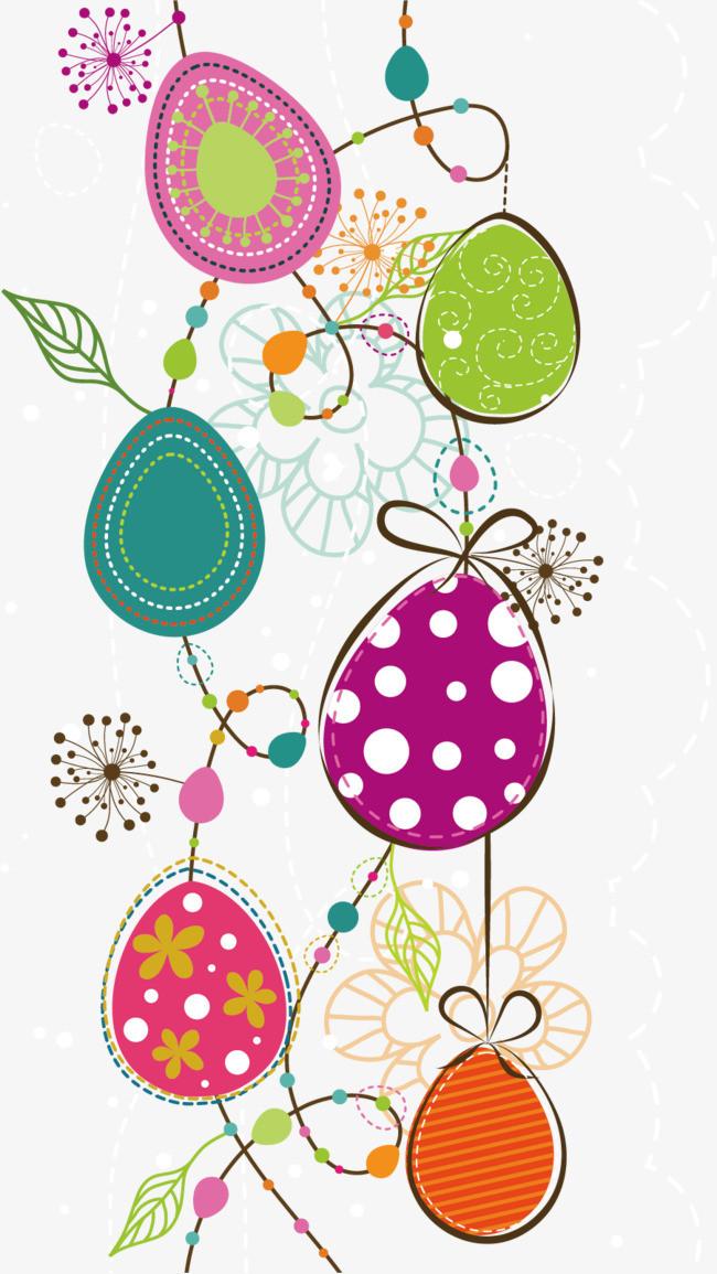 卡通手绘彩色复活节彩蛋
