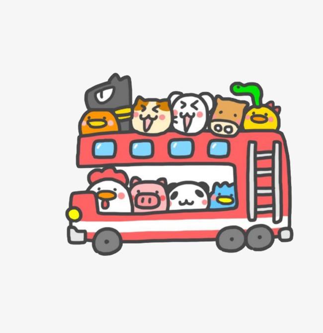 卡通动物公交车