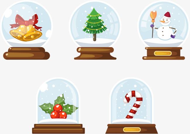 五个圣诞水晶球图片