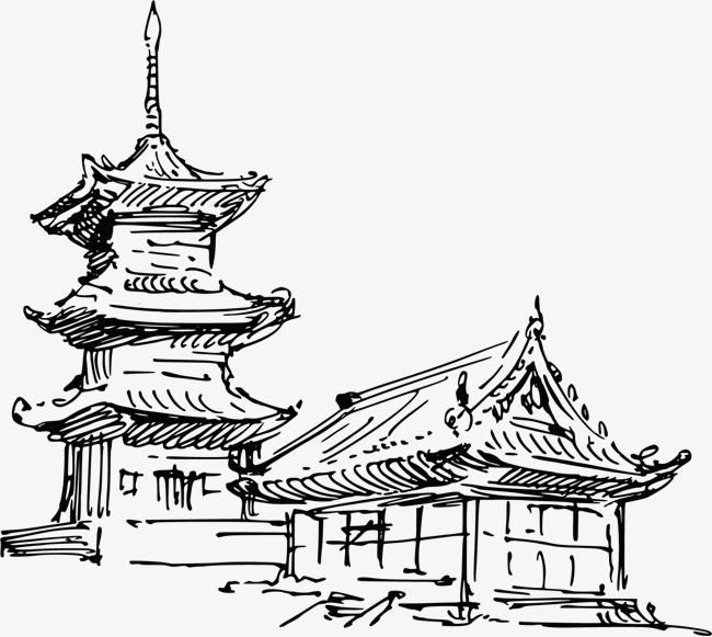 手绘 古式 中国 建筑 线稿