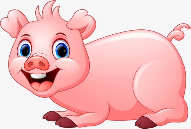 卡通趴着的小猪图片