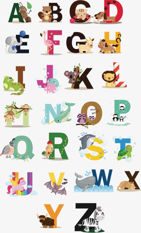 动物字母 字母 卡通字体图片