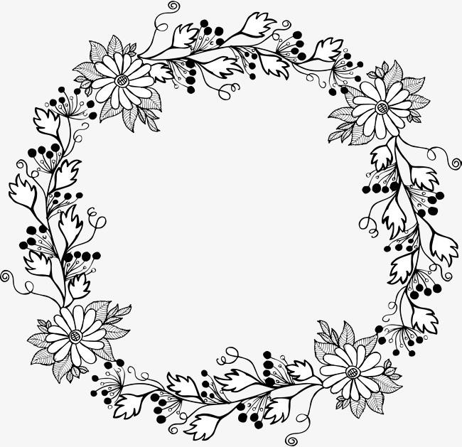 手绘小雏菊花环png素材-90设计