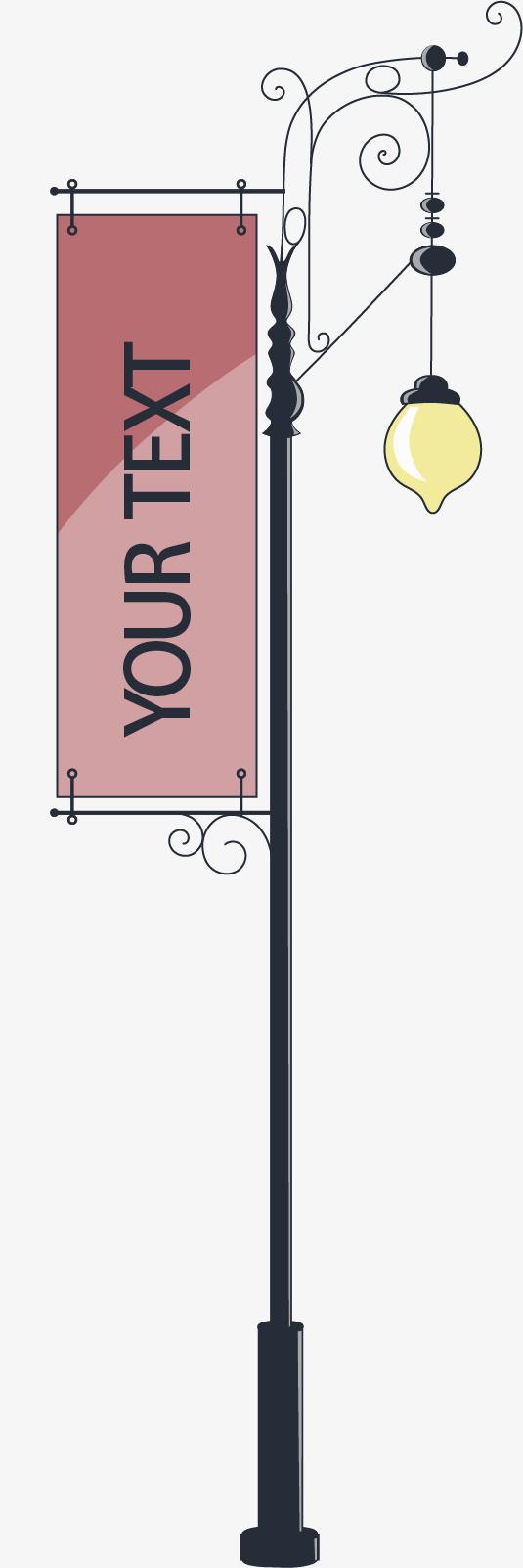 挂广告牌的路灯设计矢量素材图片