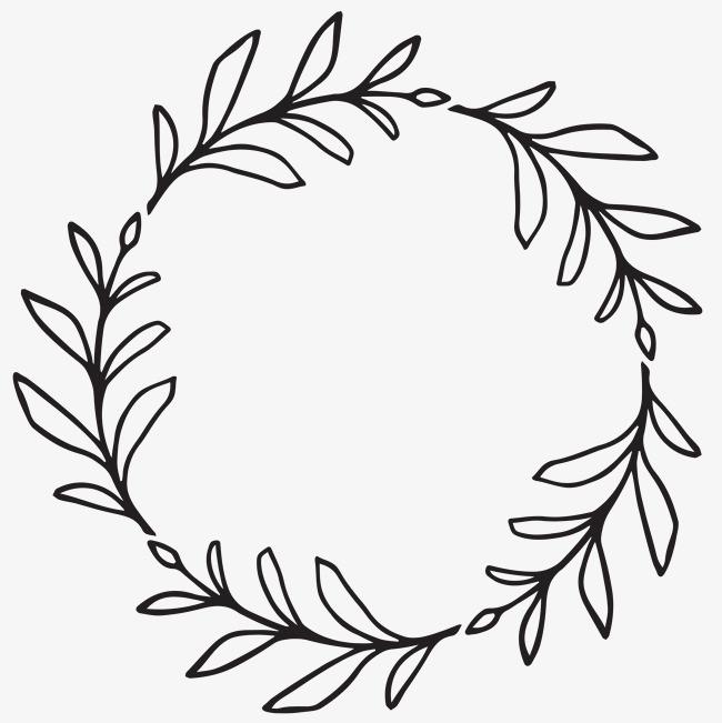 线条树叶花环图片