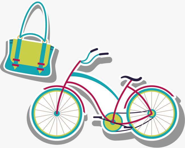 卡通手绘 自行车 包 日常用品png素材-90设计