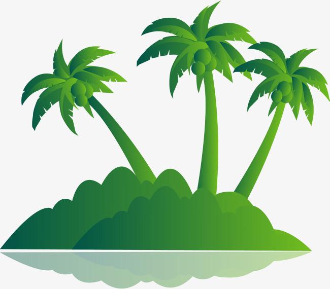 绿色棕榈树岛矢量