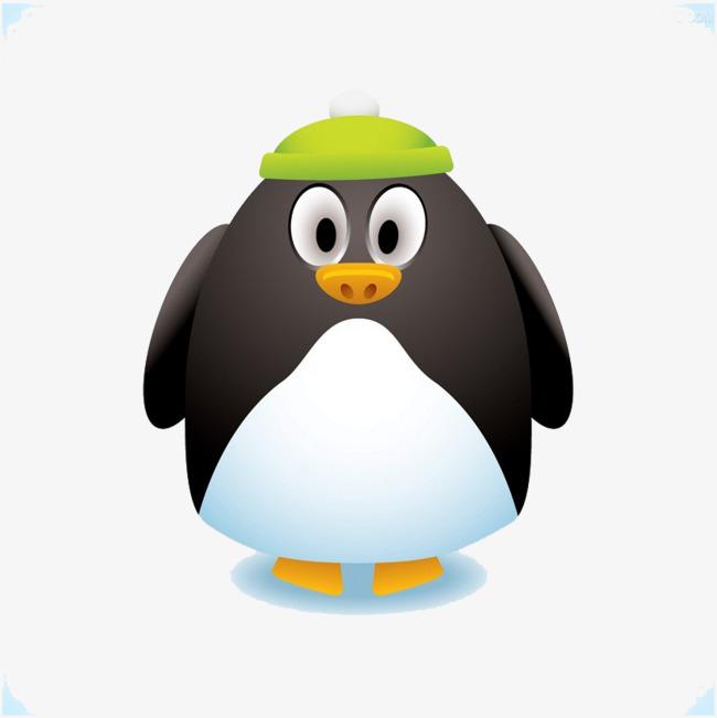 卡通手绘 卡通 站着 立正 站直 企鹅 戴帽子             此素材是90图片