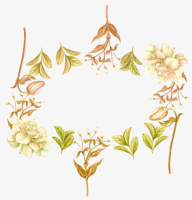 手绘茶叶茶花茉莉花边框png素材-90设计