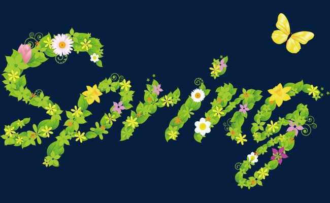 创意春天字体png素材-90设计图片