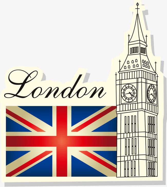 手绘英国国旗建筑图案
