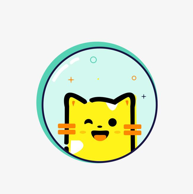 卡通手绘可爱小猫png背景