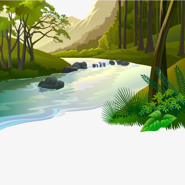 图片 其他 > 【png】 卡通小河流风景插画