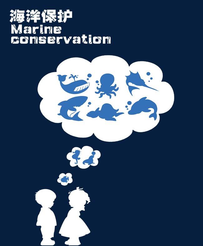 海洋保护创意简约海报设计