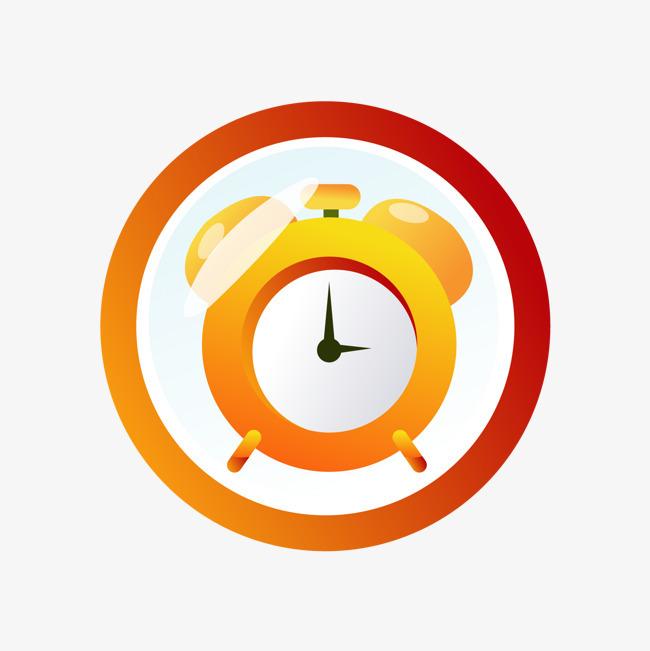 橙色闹钟图标【高清png素材】-90设计