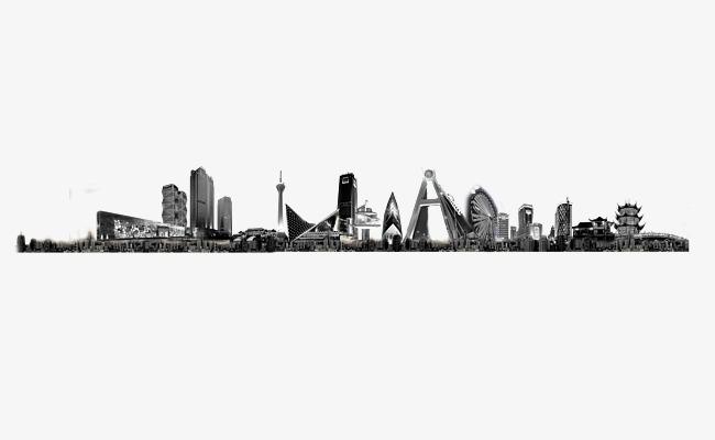 手绘黑白成都城市剪影