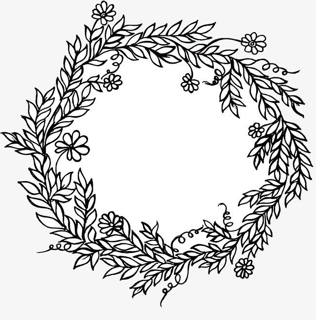 手绘树叶花藤装饰框