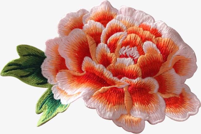 90设计提供高清png手绘动漫素材免费下载,本次橙色刺绣牡丹花作品为
