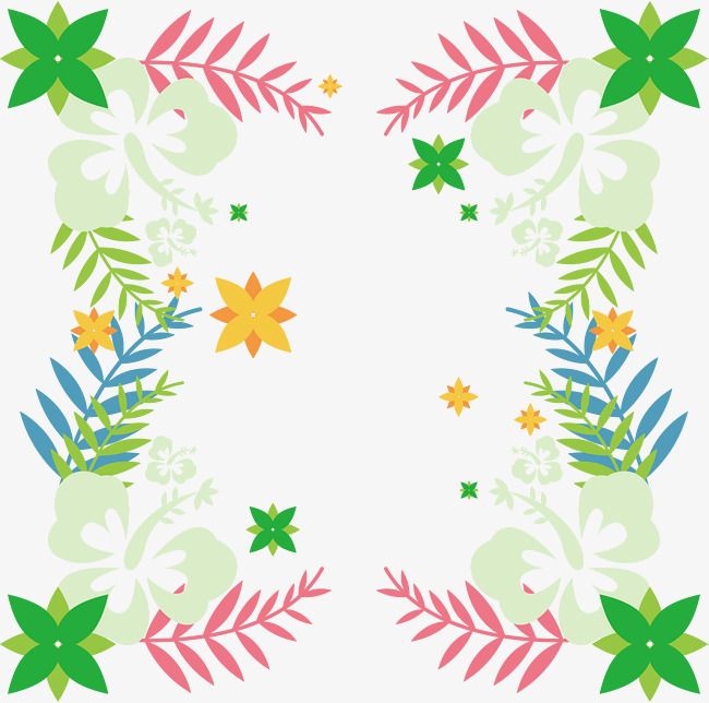 小清新卡通树叶装饰边框