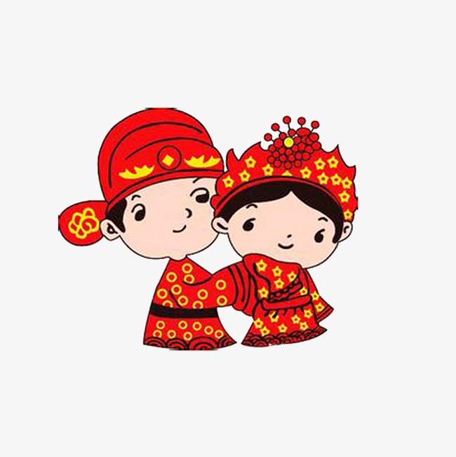 古代婚礼 新郎和新娘 中国风格大红色             此素材是90设计网