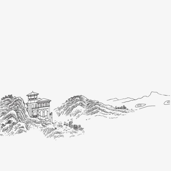 手绘山峰png素材下载_高清图片png格式(编号:18597520