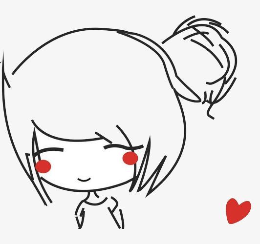 卡通可爱少女脸红表情