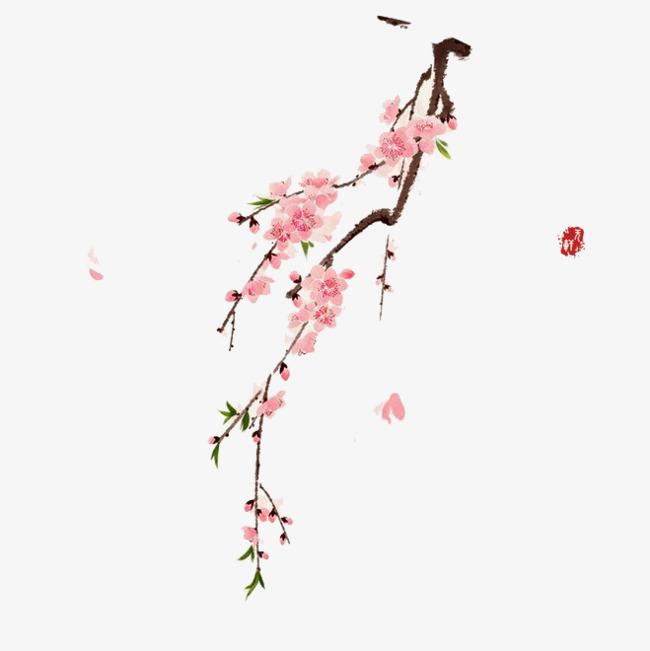 水彩 梅花 粉色 桃花 古风    手绘 卡通 装饰  鲜花免扣素材