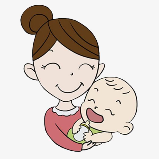 妈妈抱着宝宝笑