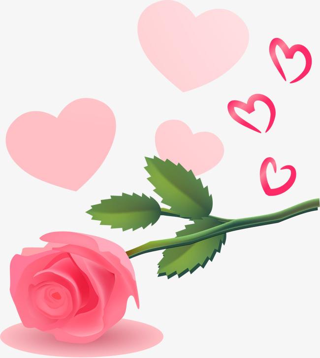 手绘粉色心形玫瑰花图案图片