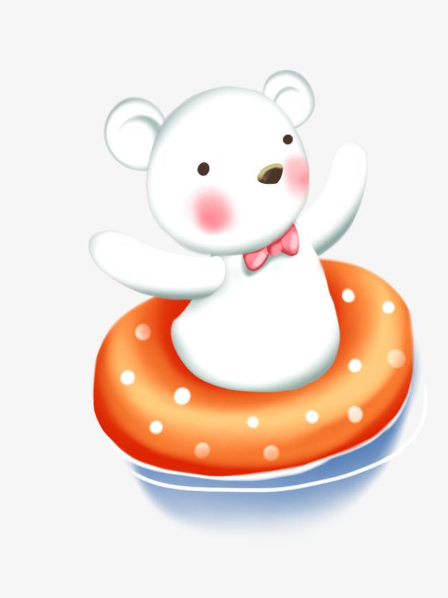 卡通可爱手绘小熊游泳图片