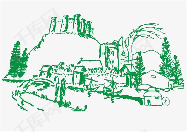 手绘山水村庄绿色简笔画手绘山水手绘图青山绿水手绘风景山间村庄绿水青山