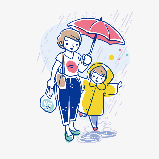 彩色手绘打伞