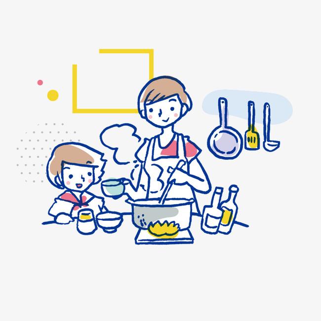 手绘卡通煮饭