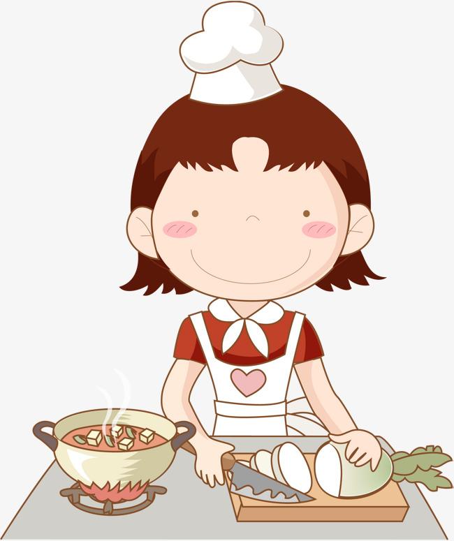 卡通手绘正在做饭的妈妈素材图片免费下载_高清psd_千