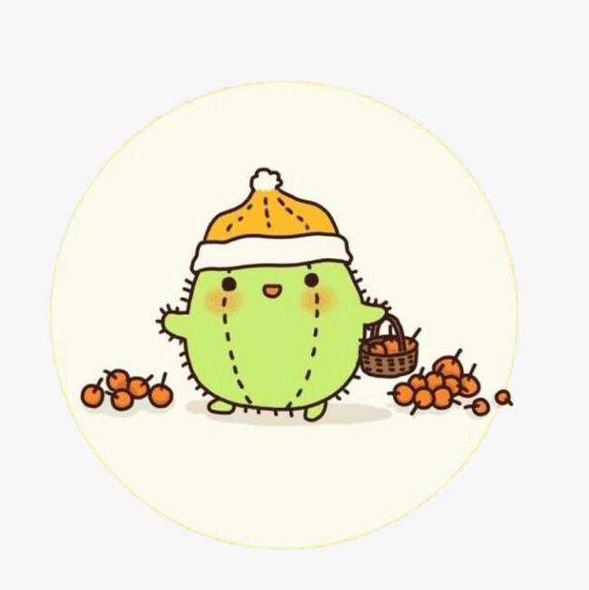 仙人掌 水彩 卡通 装饰 手绘 绿色 食物 植物免扣素材