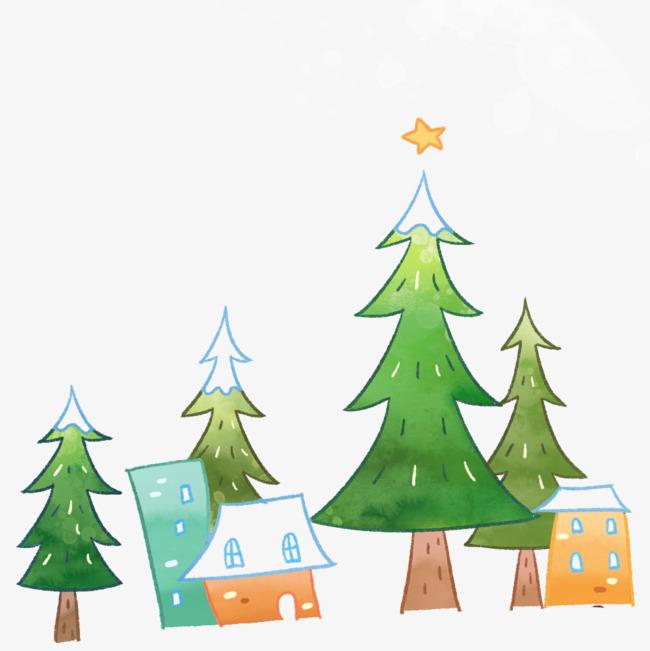手绘画 松树 房子 矢量图 装饰 矢量装饰             此素材是90