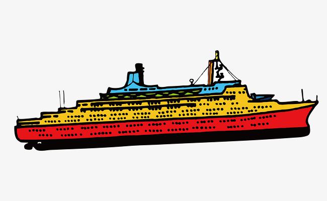 卡通手绘轮船