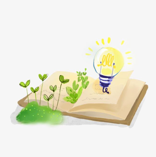 手绘书籍和灯泡png素材-90设计