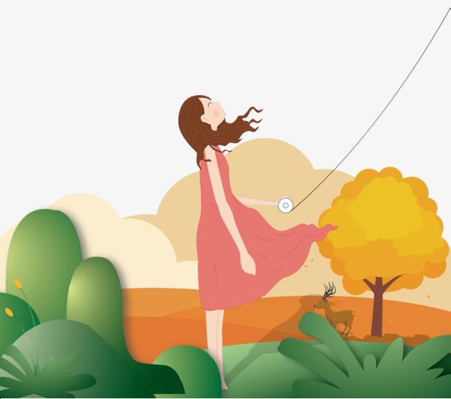 卡通放风筝女孩素材图片免费下载 高清psd 千库网 图片编号8380496图片