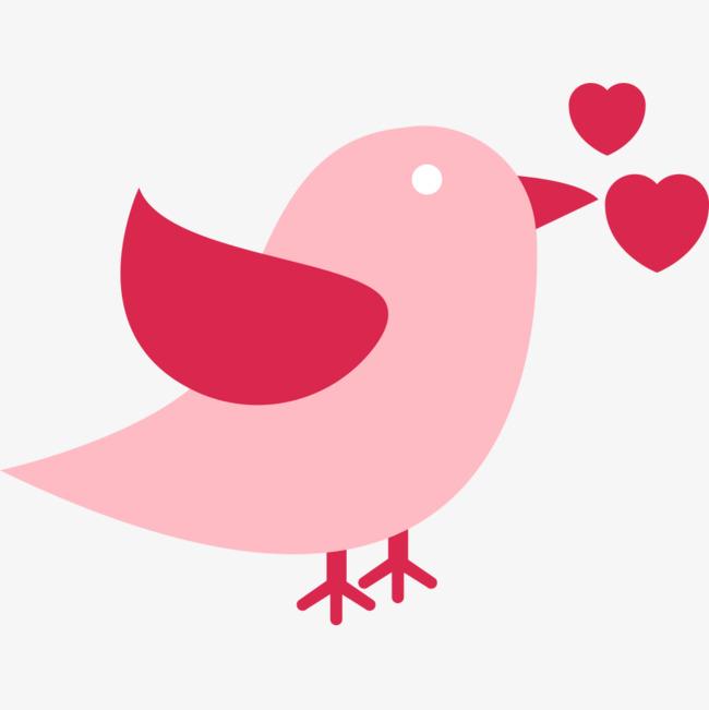 手绘小鸟和心